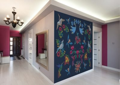 Bird Embroidery Wall Mural