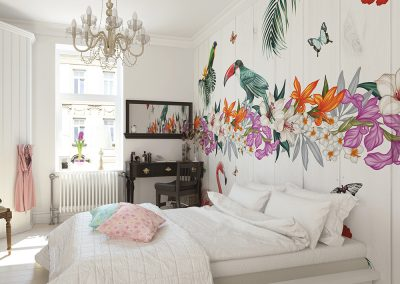 Birds of paradise wall mural