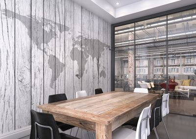 World Map White Timber Mural